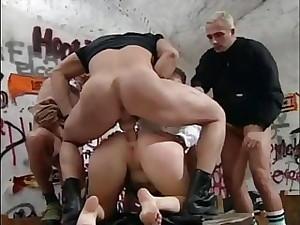 Classic blonde slut sucks cock