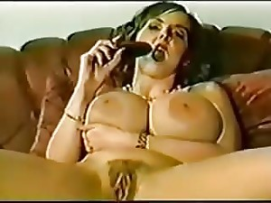 Retro woman fisted her pussy and ass
