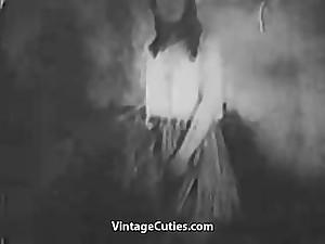 Hot retro girl fingering pussy